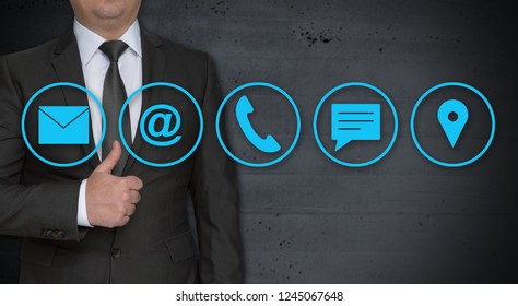 Contact options concept and businessman with thumbs up.