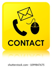Contact (phone email and mouse icon) yellow isolated on square button reflected abstract illustration