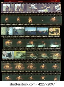 Contact sheet, the old color film positives in a transparent film. Photos from my analog film photo archive