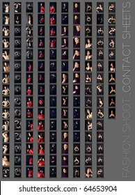 contact sheet of a professional fashion shoot for a beautiful brunette woman in five wardrobe changes, 145 images, unretouched