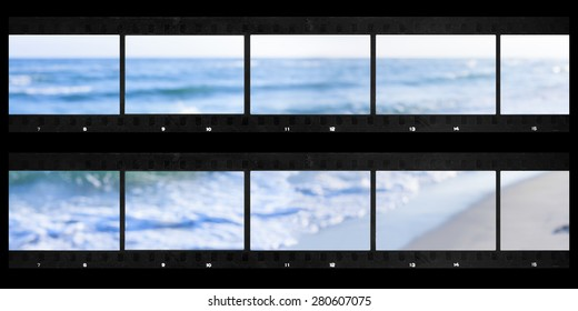 contact sheets film photography print panoramic sea defocused