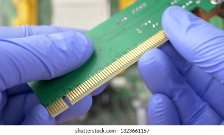 Contact system on PCI Express card for computer on electronic circuit motherboard background