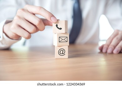 CONTACT US, Businessman hand holding ( mail,phone,email ) icon. cutomer support concept
