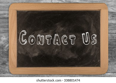 """""""Contact Us"""" chalkboard with outlined text - on wood"""