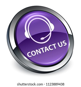 Contact us (customer care icon) isolated on 3d purple round button abstract illustration