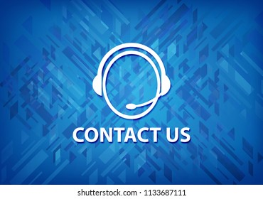 Contact us (customer care icon) isolated on blue background abstract illustration