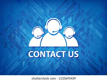 Contact us (customer care team icon) isolated on blue background abstract illustration