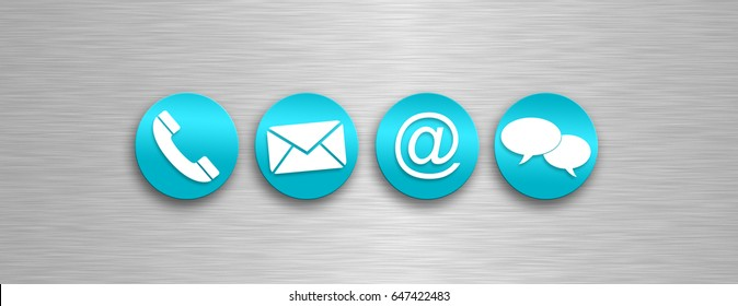 Contact us icons on a silver background