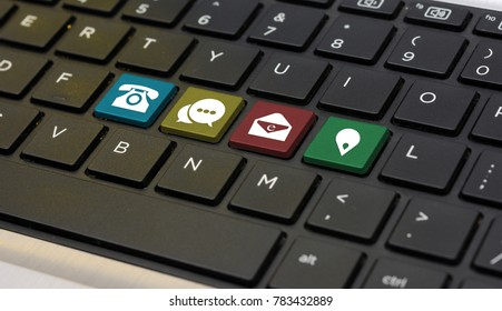 Contact Us Means Icons on keyboard closeup