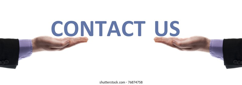 Contact us message in male hands