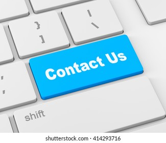 A 'contact us' message on keyboard, internet or online contact through website, 3d rendering