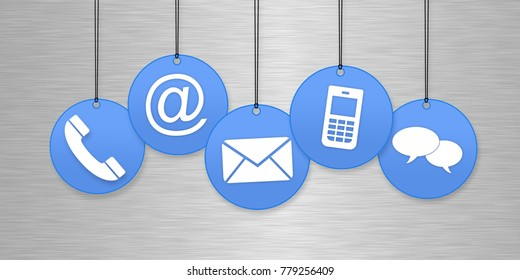 Contact us page concept with blue hanging icons