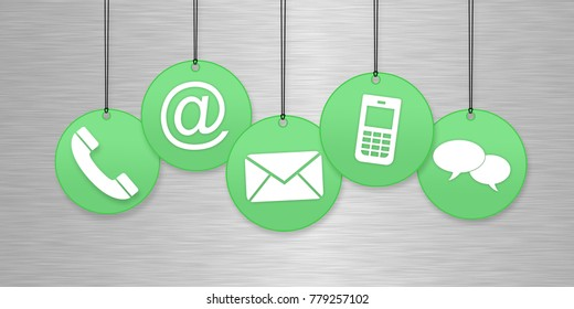 Contact us page concept with green hanging icons