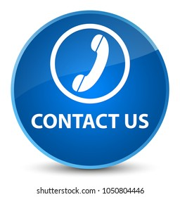 Contact us (phone icon) isolated on elegant blue round button abstract illustration