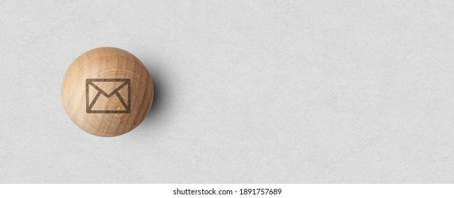 Contact us signs on wood ball spheres , symbols e-mail address