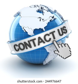 Contact us symbol with globe, 3d render, white background