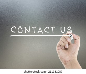 contact us text with hand writing