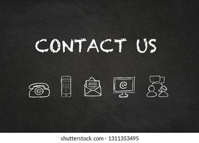 """""""Contact us"""" text and Icons with chalkboard background"""