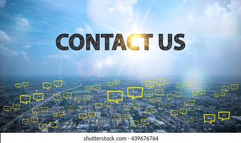 CONTACT US  text on city and sky background with bubble chat ,business analysis and strategy as concept