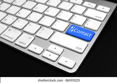 contact us word on computer keyboard key showing business communication
