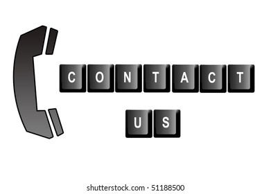 Contact us written with computer keyboard letters and a symbol of a telephone