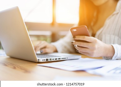 contact us,businesswoman work by modern devices, she uses digital tablet computer ,mobile smartphone for New marketing plan researching mobile phone,email, telephone ,e-mail address wifi icon concept