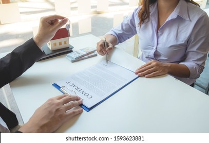 Contacting the buying or selling of real estate through a sales representative offering a contract to buy a house or apartment, condo and providing house keys for success