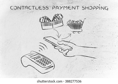 contactless payments shopping, customer using near field communication via smartphone at pos