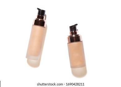 Container bottles for foundation or bb and cc cream.  Transparent glass bottle with dispenser. Template of packaging for cosmetic product