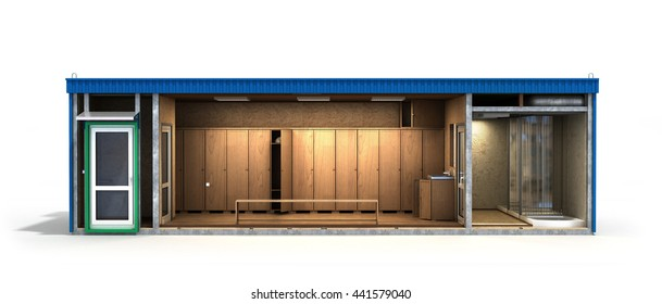 container building for workers in a cut with an inner filling 3d render on white