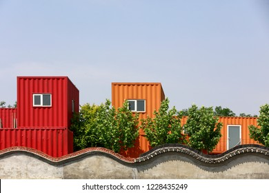 Container buildings in a park, China