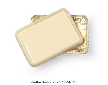 container for butter, melted cheese or margarine spread. isolated over the white background. With clipping path