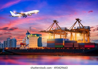 Container Cargo freight ship with working crane bridge in shipyard at twillight for Logistic Import Export background