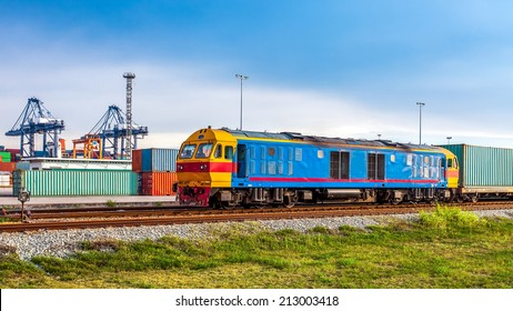 Container Cargo freight trains with Harbour Background using for Logistic Import Export Concept