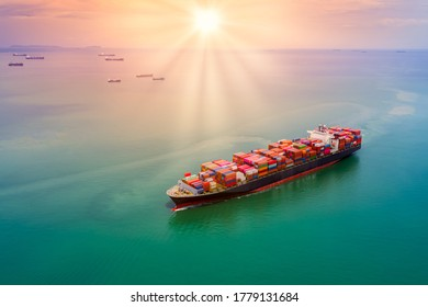 container cargo logistics shipping import export business service transportation of international by container cargo freight shipping open sea and the sunset over colourful process background - Shutterstock ID 1779131684