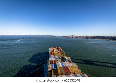 Container Cargo Ship entering San Francisco Bay - San Francisco, California, USA