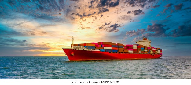 Container cargo ship, Freight shipping maritime vessel., Global business import export commerce trade logistic and transportation worldwide by container cargo ship boat in the open sea - Shutterstock ID 1683168370
