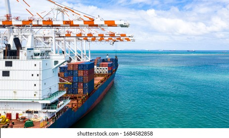 Container cargo ship, Freight shipping maritime vessel, Global business import export commerce trade logistic and transportation worldwide by container cargo ship boat at port terminal with quay crane