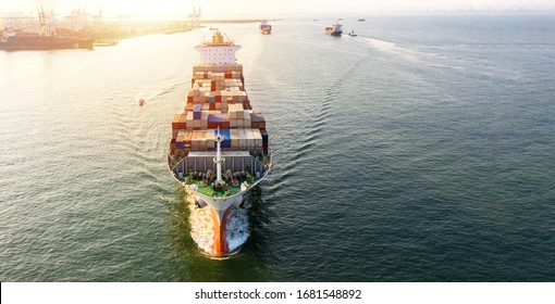 Container cargo ship  global business commercial trade logistic and transportation oversea worldwide by container cargo vessel, Container cargo freight shipping import export company. - Shutterstock ID 1681548892