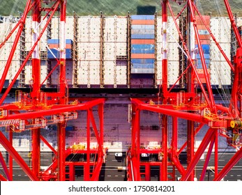 Container cargo ship import export global business with commercial trade logistics and transportation overseas worldwide by container cargo vessel ship.