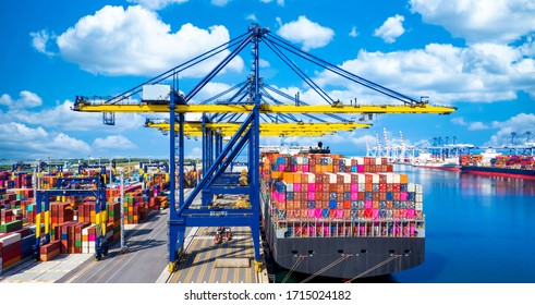 Container cargo ship at industrial port in import export global business worldwide logistic and transportation, Container ship unloading freight shipping, Container cargo vessel boat freight.