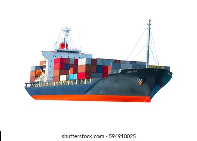 Container cargo ship for maritime freight , water transportation network industry concept on white back ground,logistic service and transportation.