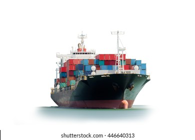 Container Cargo ship in the ocean isolated on white background, Freight Transportation, Shipping, Nautical Vessel, Logistic Import Export background.