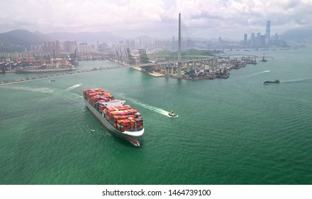 Container cargo ship on Terminal commercial Port,Business logistic and transportation industry in Hong kong