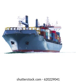 Container cargo ship  on white background for maritime freight concept and transportation network industry.
