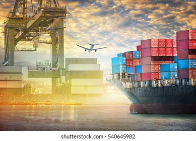 Container cargo ship and cargo plane with port crane bridge in harbor at sunset sky, Freight Transportation, Shipping