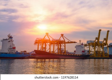 Container Cargo ship and cargo plane with working crane bridge in shipyard during sunrise,logistic import export and use for freight cargo.