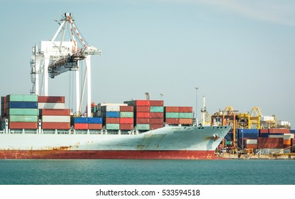 Container Cargo ship in the Trade Port, Shipping