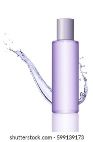Container with cosmetics skin care body purple cream on white background with reflection and water splash