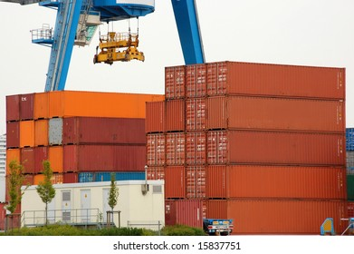 Container and crane in a harbor